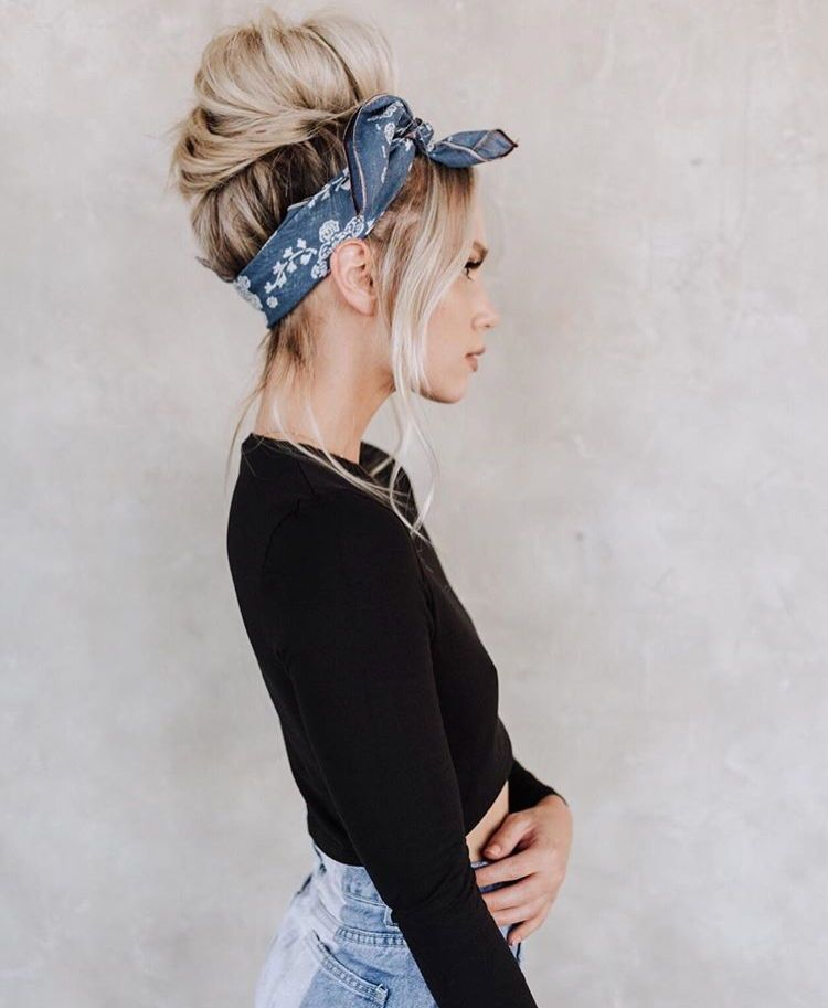 White Black Shirt And Two Toned Denim With A Chic Bandana In Your Hair Visit Daily Dress Me At Dailydressme Com Hair Scarf Styles Hair Styles Scarf Hairstyles
