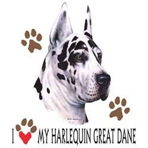 I Love My Harlequin Great Dane Dog On Unisex White T Shirt