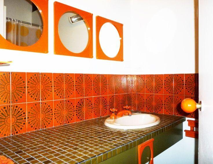 Orange Retro 70s Sunburst Tiled Bathroom Splashback Orange Bathrooms Classic Bathroom Vintage Bathrooms
