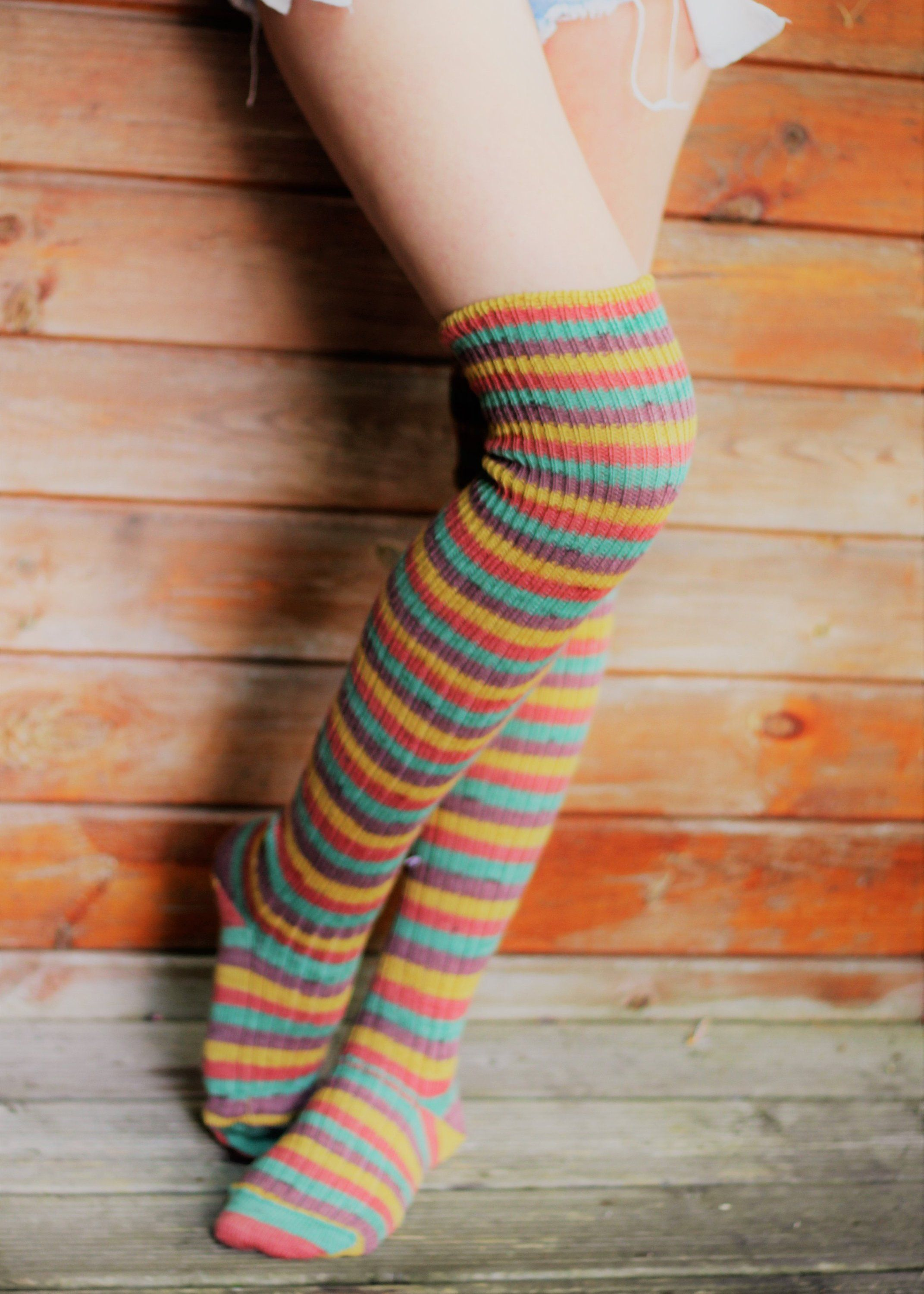 3bddd1dc788 Striped Over the KNEE Socks Orange Yellow Green Warm Winter