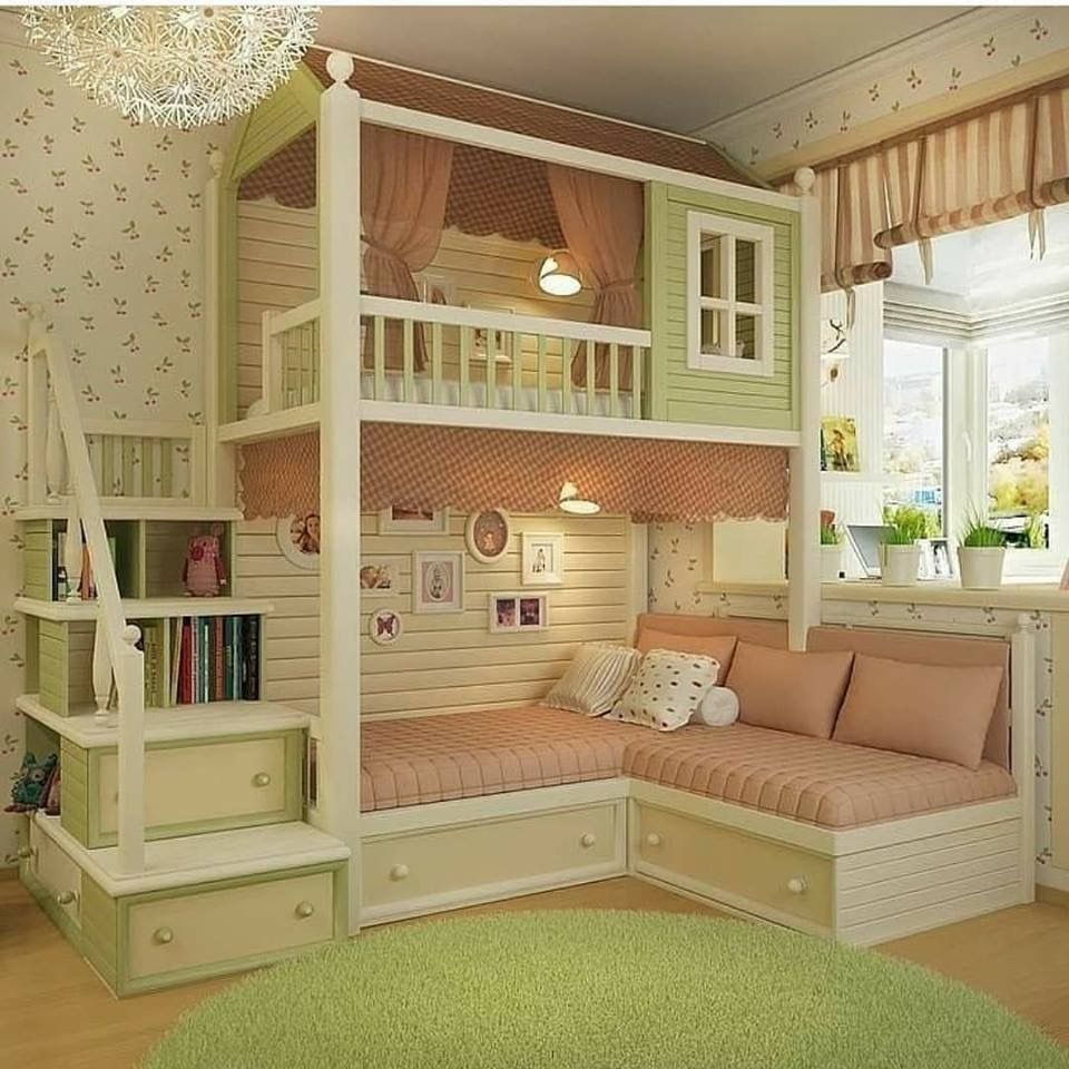 Girls loft bed with stairs  Girls bunk bed with stair storage  quarto dos sonhos  Pinterest