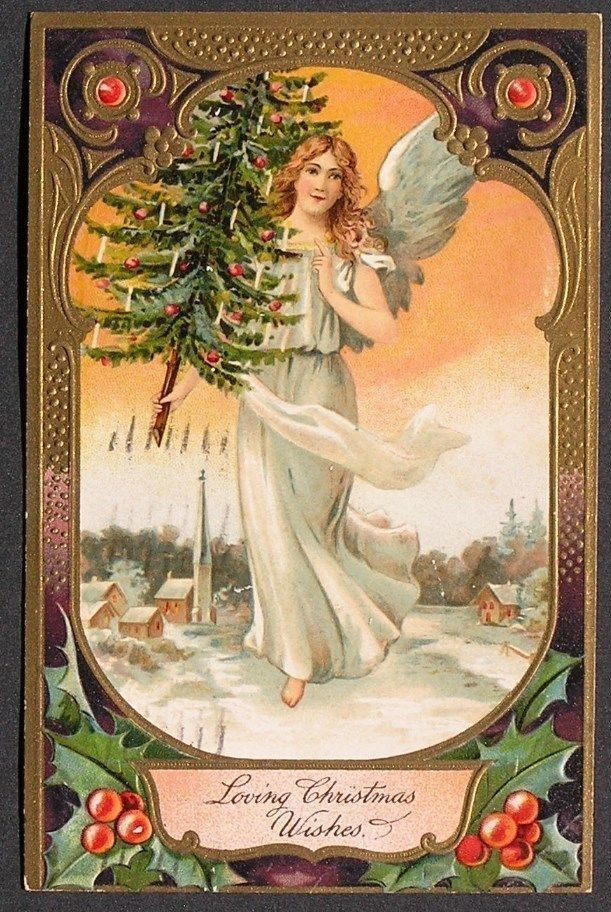 PFB Beautiful Angel Flies w/ Candle Lit Christmas Tree over Snowy Village 1912 #Christmas