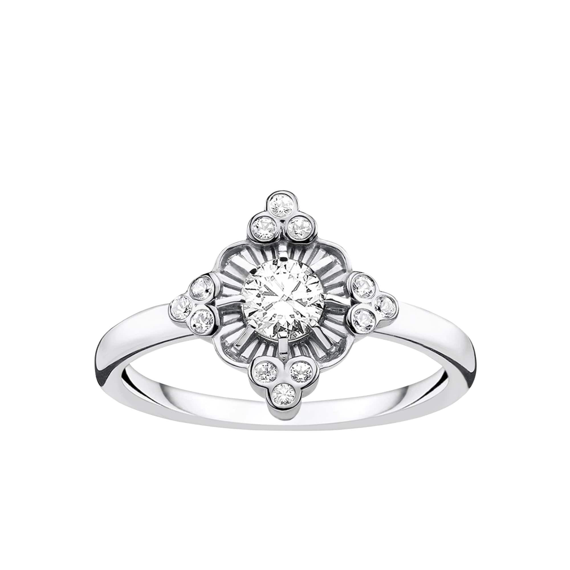 Thomas Sabo Ring Royalty Weiss Damen Silber Grosse 58 In 2020 Thomas Sabo Ring Vintage Inspired Rings White Ring