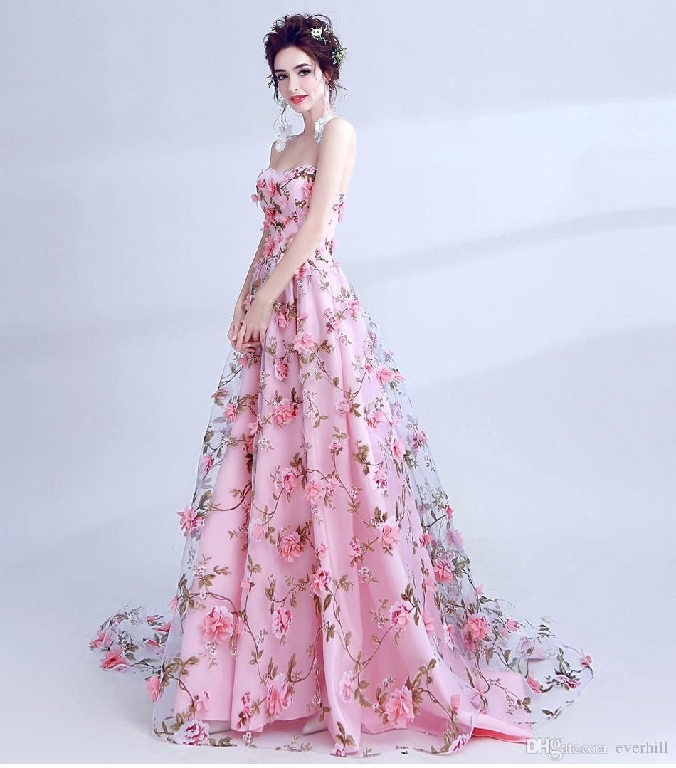 8155e22079 JaneVini 2018 Pink Modest Prom Dresses Long 3D Flowers Organza Sweetheart  Romantic Floral Evening Party Dress