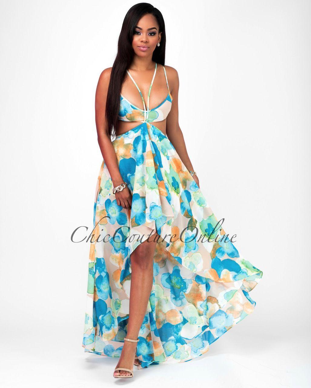 Niesha Aqua Tangerine Multi-Color Floral Maxi Dress | Floral maxi ...