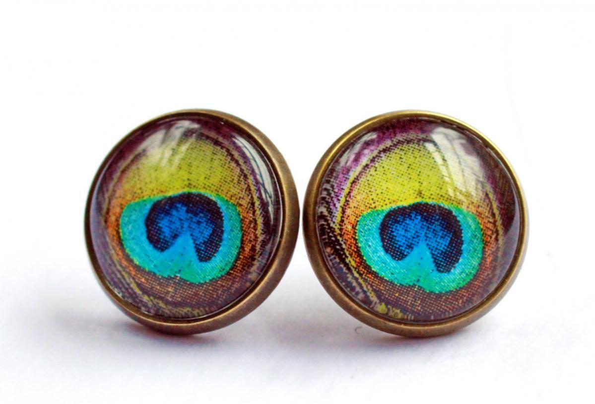 Peacock feather earrings, jewel tone stud earrings, green ...