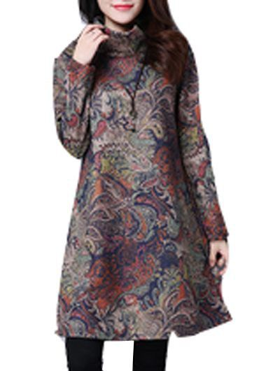 Turtleneck Long Sleeve Printed Pocket Tunic Dress on sale only US$30.58 now, buy cheap Turtleneck Long Sleeve Printed Pocket Tunic Dress at modlily.com