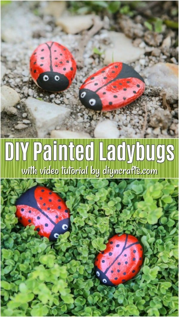 DIY Hand Painted Ladybug Stones is part of Ladybug rocks, Rock painting tutorial, Painted rocks kids, Rock painting patterns, Stones diy, Rock painting ideas easy - Learn how to turn ordinary stones into treasures for your garden  These DIY ladybug rocks are simple to paint and give your outdoors such style!