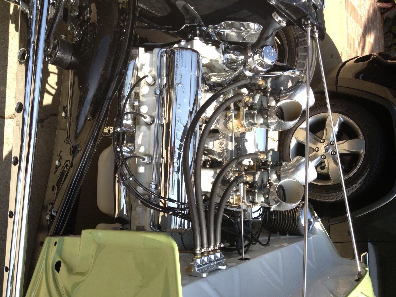 a good engine photo of joe clary s 1934 ford 3w coupe 331 cadillac with a four pack  [ 1632 x 1224 Pixel ]