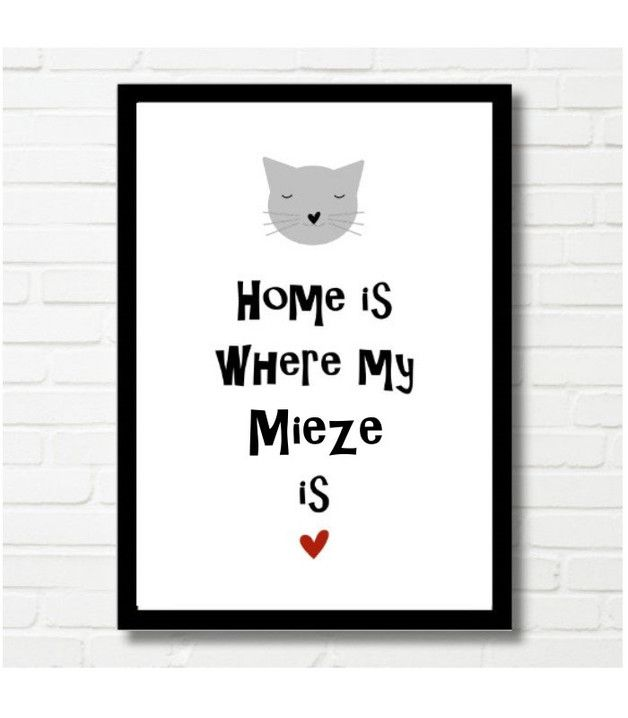 bild f r katzenliebhaber poster home is where my mietze is for cat lover made by druck reif. Black Bedroom Furniture Sets. Home Design Ideas