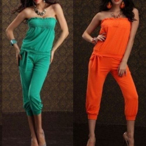 14.88$  Buy now - http://visdf.justgood.pw/vig/item.php?t=86hif119121 - Womens Sexy Strapless Jumpsuit Overalls Pants Romper Clubwear /orange/Yellow/Ros