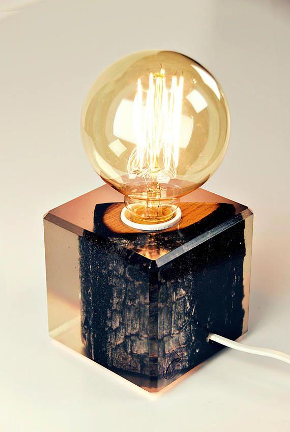Oak Piece Submerged In Epoxy Resin Lamp Warm Light Table