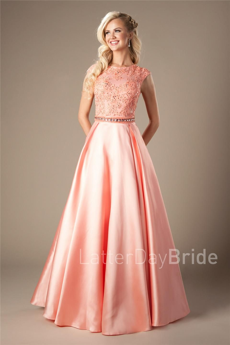 feb09df13171 Coral Satin Lace Long Modest Prom Dresses 2017 Cap Sleeves A-line Beaded  Elegant Beaded Girls Formal Mint Evening Prom Party Dresses Cheap