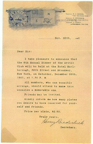 Attractive An Invitation To Dinner Perhaps Ironically, The Arctic Club Did Not Support  Robert Peary In Either A Logistical Or Financial Manner. This Letter Is An  ...