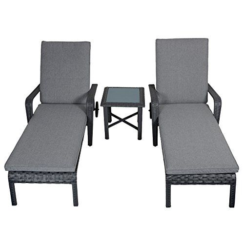 Set Tavolo E Sedie Esterno.Haiti Rattan Wicker Reclining Sun Loungers Table Garden Patio