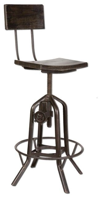 Industrial Crank Bar Stool eclectic bar stools and counter
