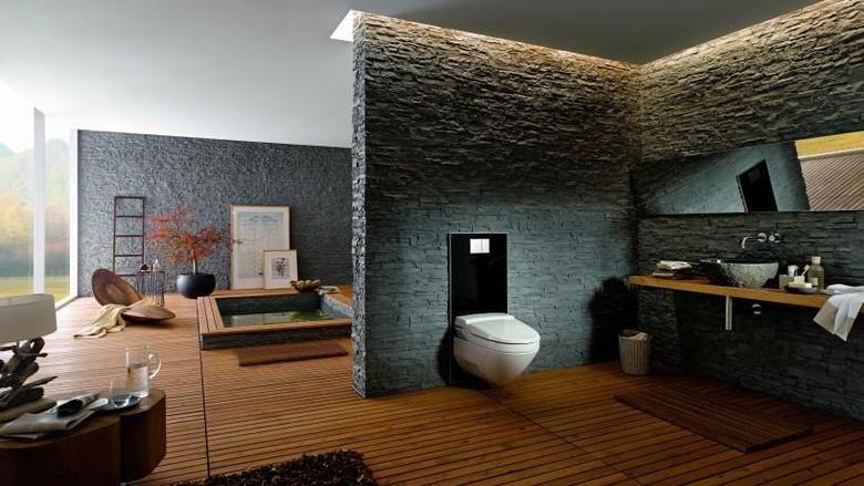 Natürliche Materialien Wie Naturstein Und Holz Werden Im Bad Immer Beliebter.  Mit Diesem Foto Wirbt