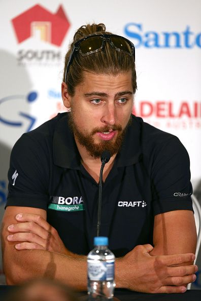 Peter Sagan of the Bora Hansgrohe team speak to media during the press conference ahead of the 2017 Tour Down Under on January 14...