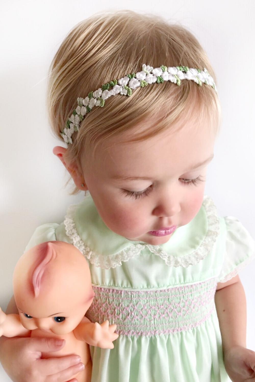 BABY THIN HEADBAND HEAD BAND GIRL NEWBORN TODDLER HAIR CHRISTENING PARTY FLOWER