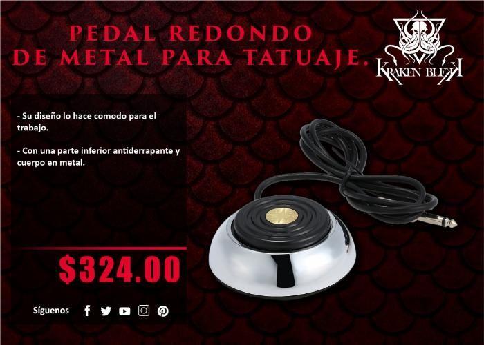 Kraken Blekk: Pedal redondo de metal para tatuar - ¡Disponible en Kichink!