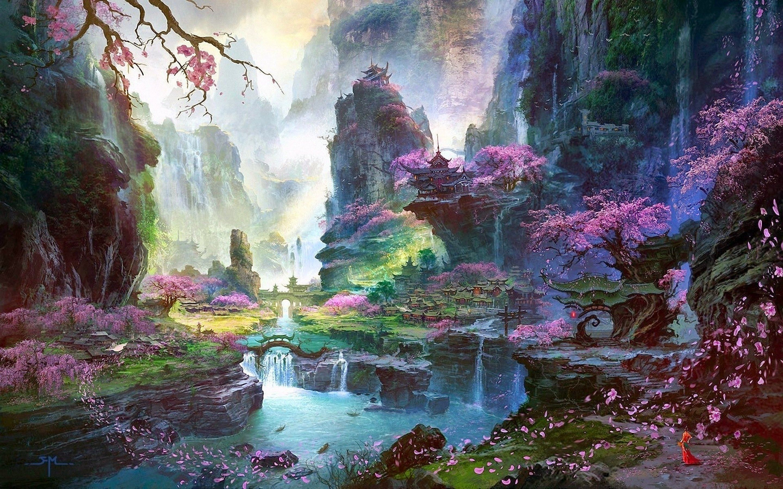Fantasy Original Artwork Artistic Hd Hd Desktop Wallpapers Manipulation Free Free Wallpaper Art Fantasy Art Landscapes Fantasy Landscape Anime Scenery