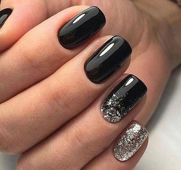Manikyur Nails Black Nails With Glitter Squoval Nails Black Nail Designs