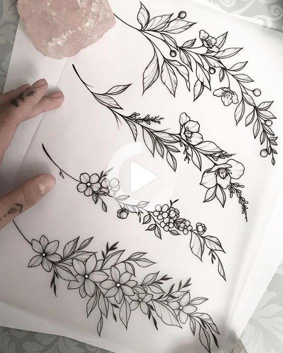 ブレスレット/バングルは値を下げて利用できます。 Tattoo Inspo #flowertattoos-花のタトゥー  – flower