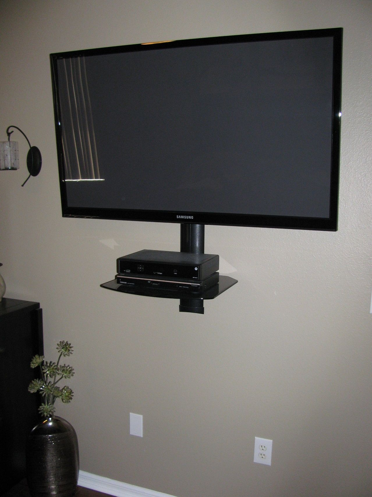 Full Motion Tv Wall Mount With Cable Box Shelf