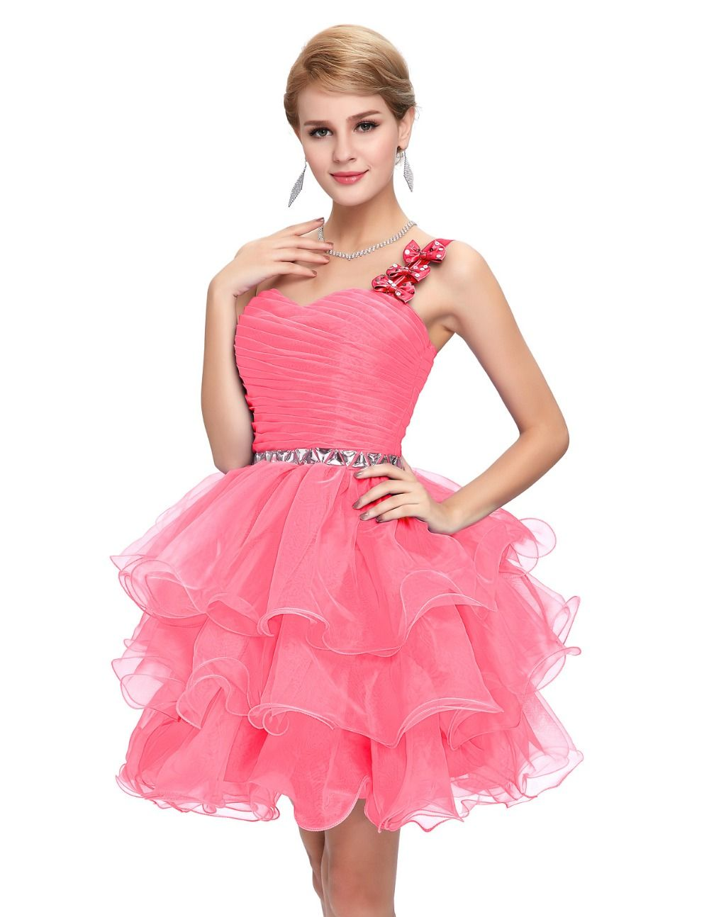 Sparkly Beaded Prom Dress Pink Blue Purple One Shoulder Ball Gown ...