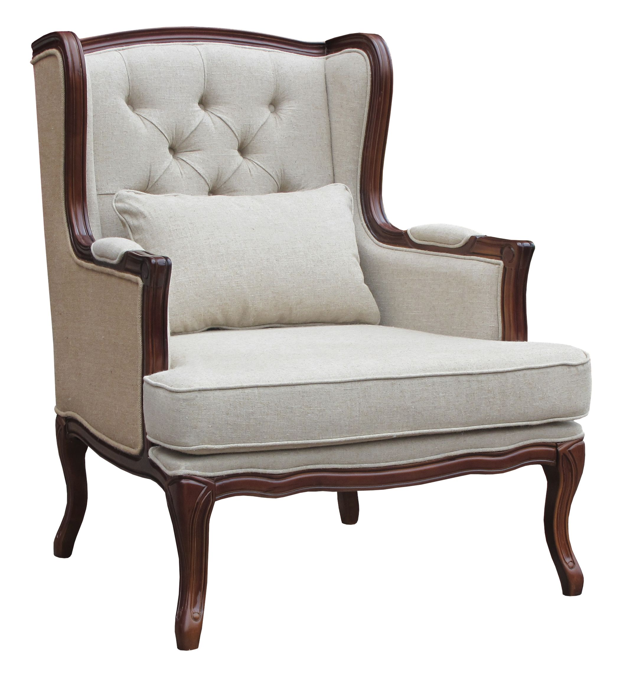 Cream And Brown Wing Back Chair With Tufted Back Lh