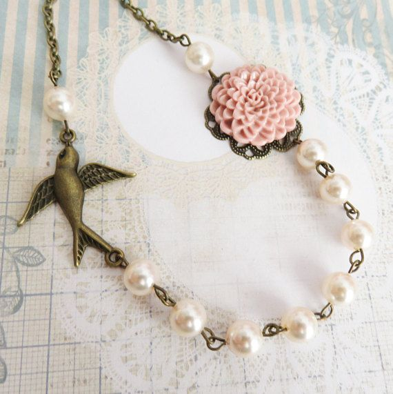 Dusty Pink Bridesmaid Necklaces Ivory Swarovski Elements Pearl Necklace Flower Jewelry Rustic Wedding Country