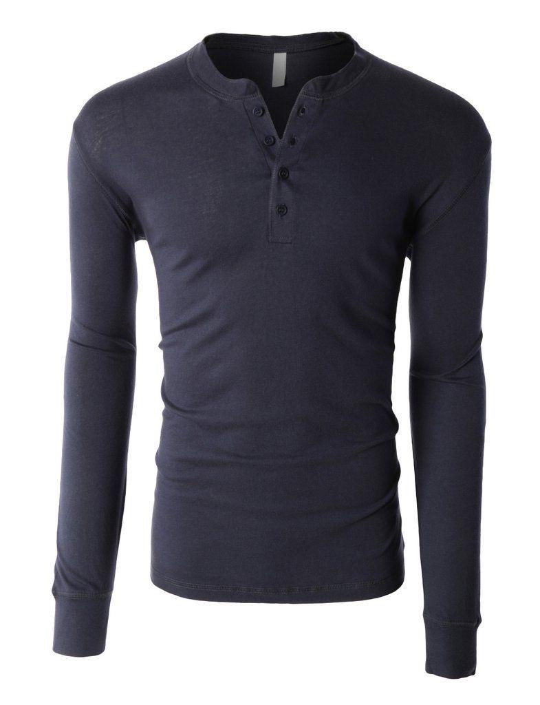 LE3NO PREMIUM Mens Lightweight Long Sleeve Crewneck Raglan Henley Shirt