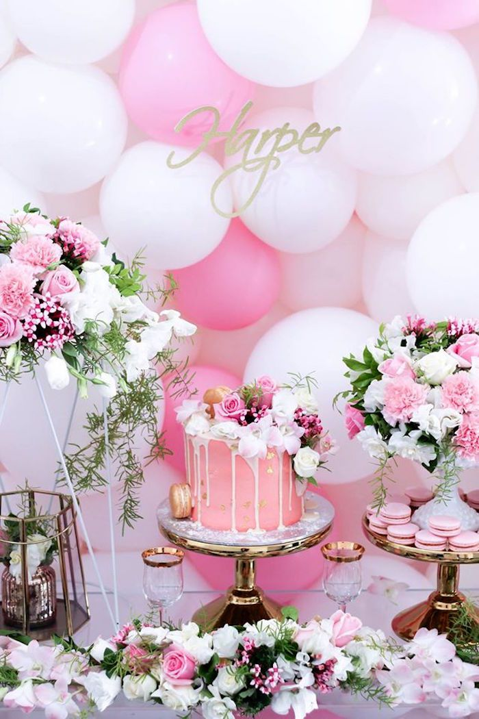 Pink Birthday Cake Decoration Ideas : Cake Display from a Pink + White & Gold Garden Party via ...