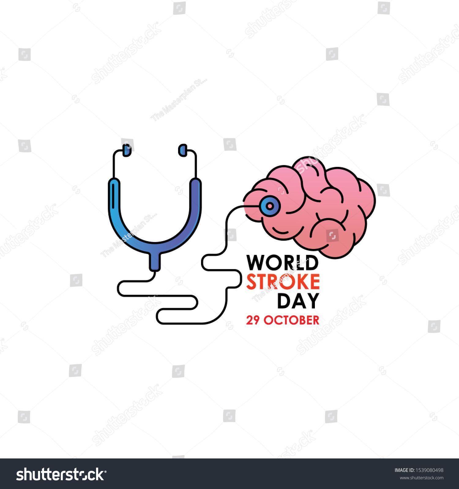 World Stroke Day Vector logo poster illustration of