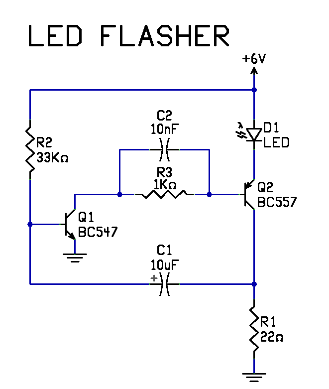 two transistor led flasher circuit diagram