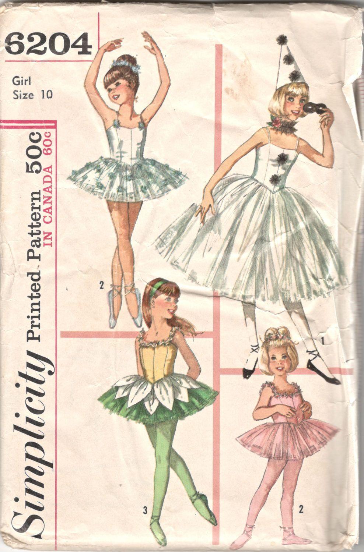 Simplicity 6204 1960s Girls Ballet Ballerina Costume Hat Ruff TUTU ...
