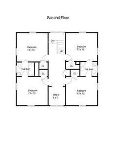 Shared A House With Several Friends That Had This 2nd Floor Layout Great Memories Square House Plans Four Square Homes Unique House Plans