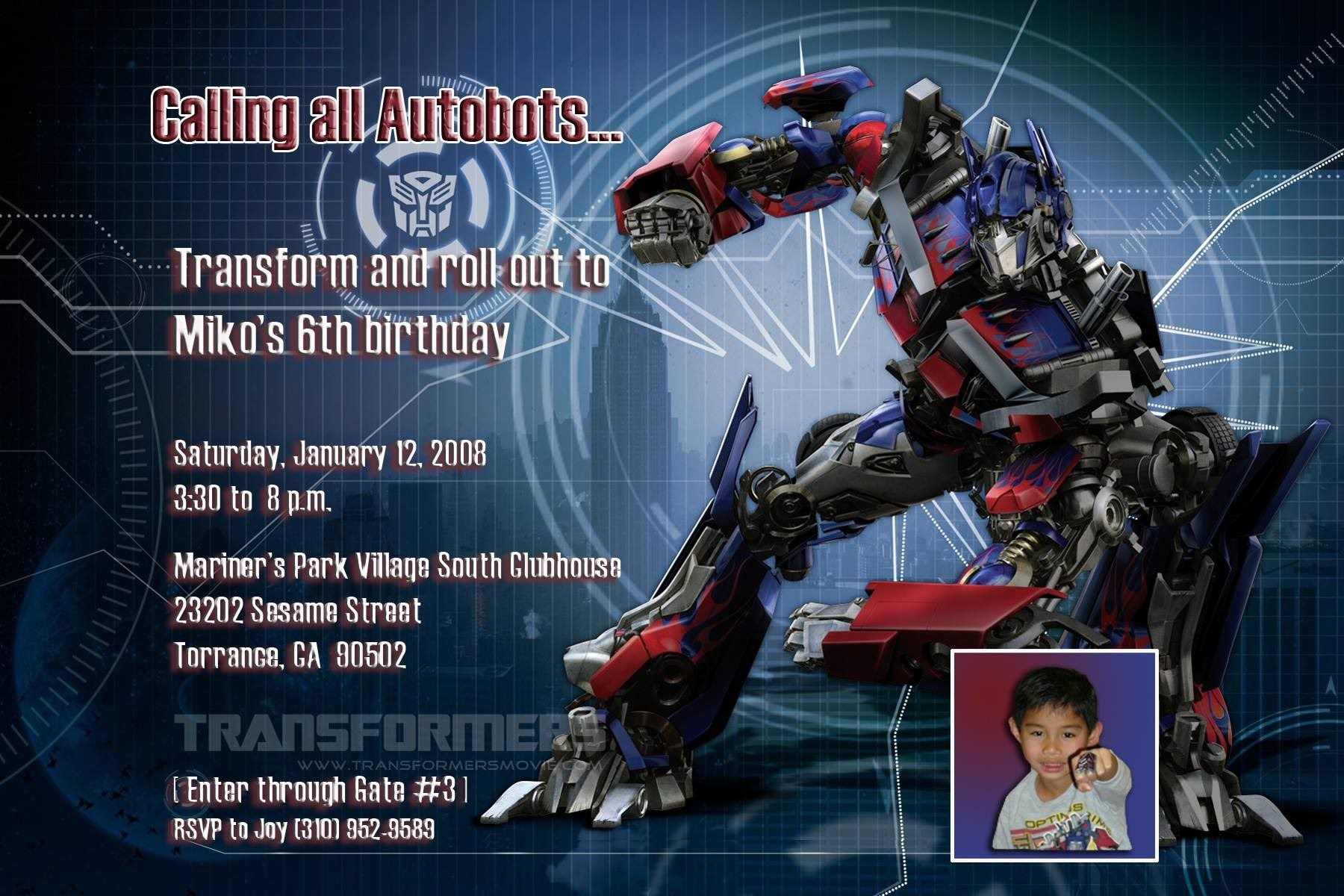 transformers birthday invitatioins | Transformers birthday ...