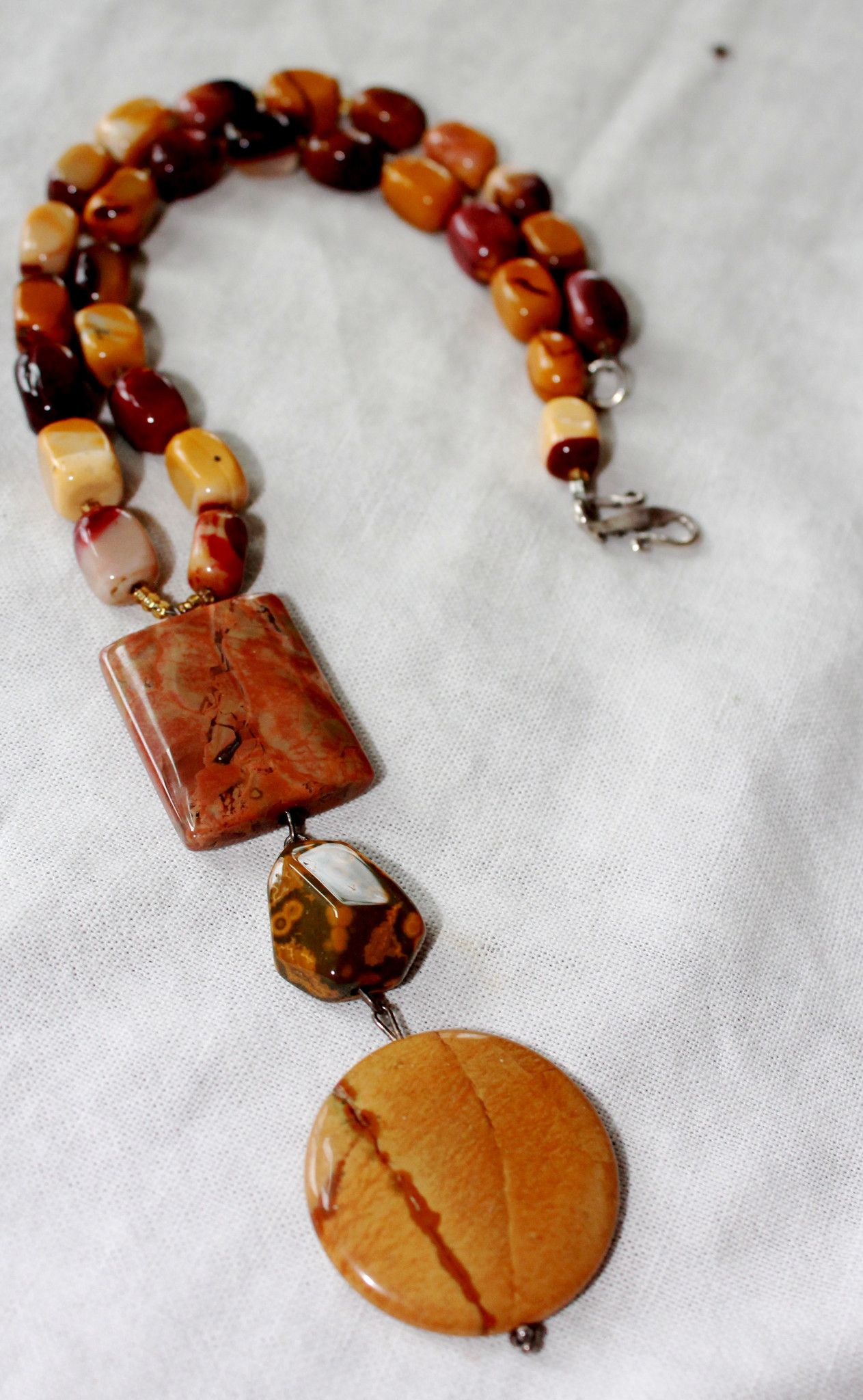 Photo of Three Stone Pendent Mookite & Jasper Bead Necklace
