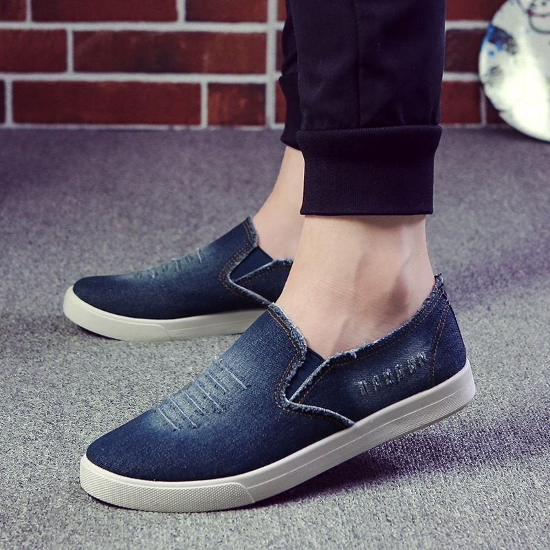 Loafers Shoes 2017 Summer Men Shoes Breathable Slip-On Cut-Out Denim Casual Canvas Shoes Flat Heels Size 39-44