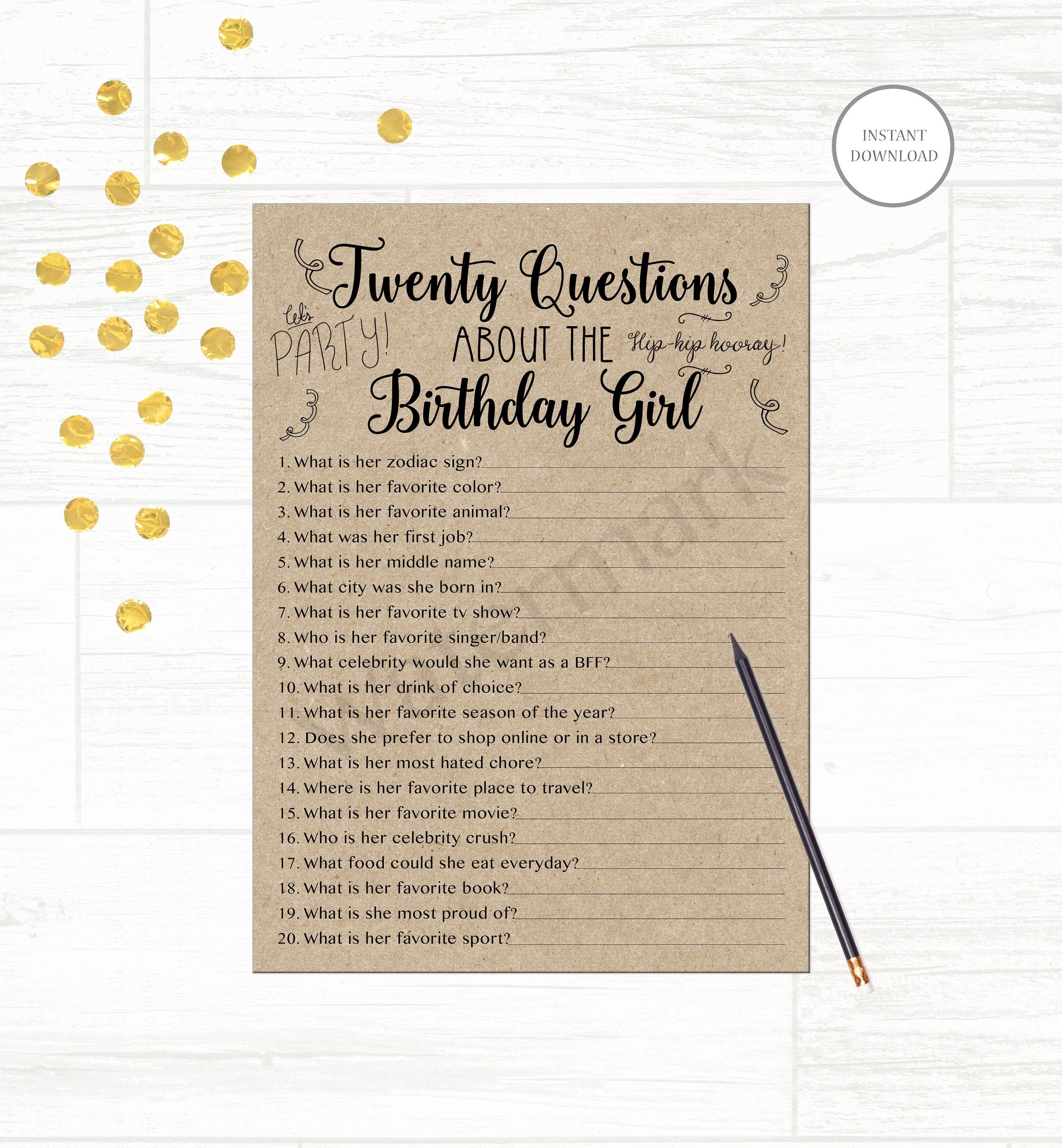 Party Game How Well Do You Know Birthday Girl NEW DESIGN NEW QUESTIONS