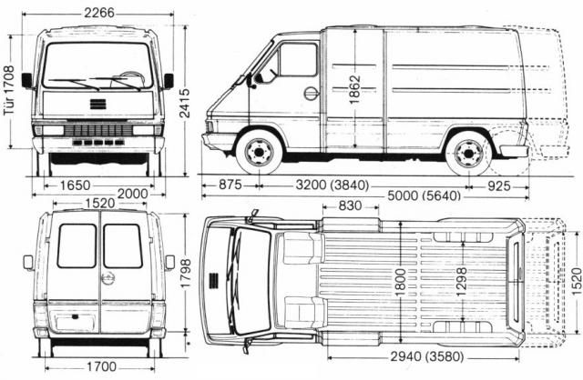 Dimensions Renault Master. the vector drawing renault