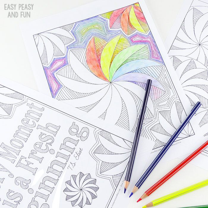 3 Flower Swirl Coloring Pages for Adults | Imprimibles, Lápiz y Colorear