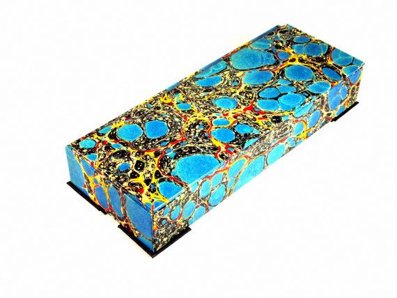 keepsake box in marbleized paper,blue with gold veining