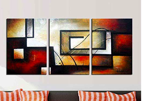 Artland Modern 100 Hand Painted Abstract Oil Painting On Canvas The Maze Of Memory 3 Piece Gallery Wrapp Oil Painting Abstract Framed Wall Art Canvas Painting
