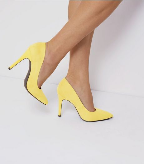 c80de060309 Wide Fit Yellow Suedette Pointed Court Shoes | New Look | Shoes ...