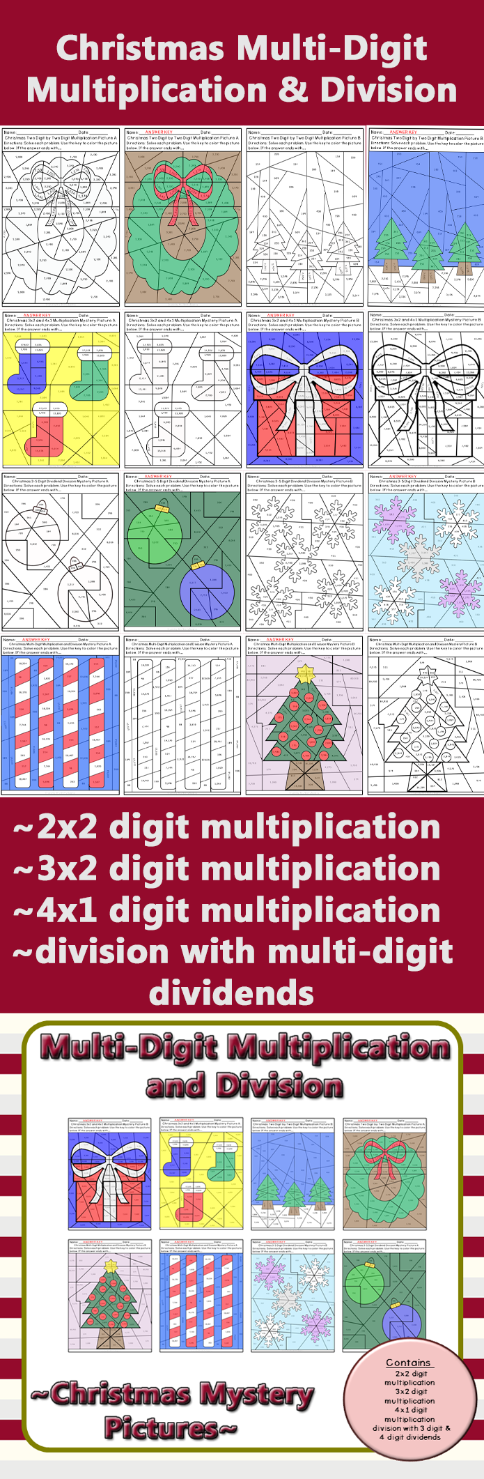 Christmas Multi-Digit Multiplication and Division Mystery Pictures ...