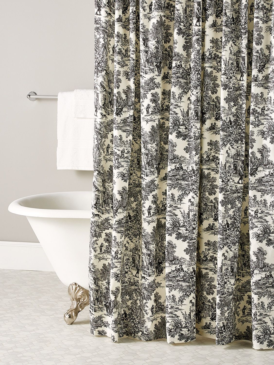 Essex Toile Shower Curtain French Country Bathroom Country Shower Curtain Farmhouse Shower Curtain
