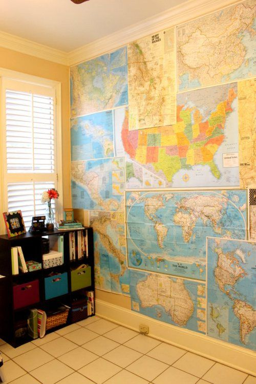 DIY Map Wall | National geographic, Walls and Room