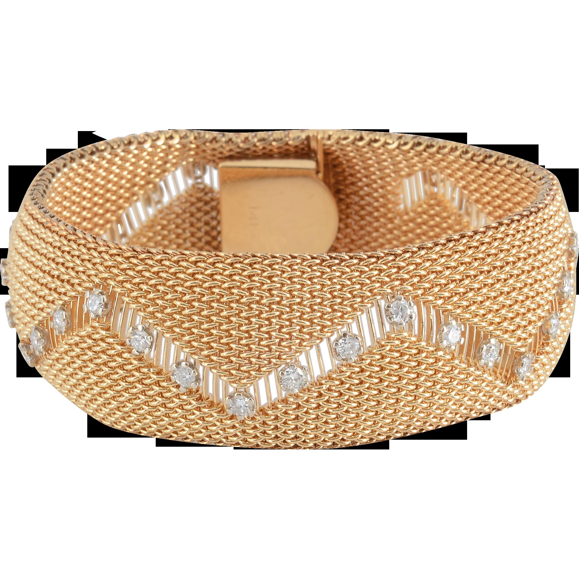 ctw diamond wide gold mesh bracelet gold jewellery
